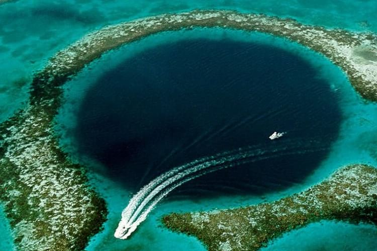 The giant submarine sinkhole close to the coast of Belize.