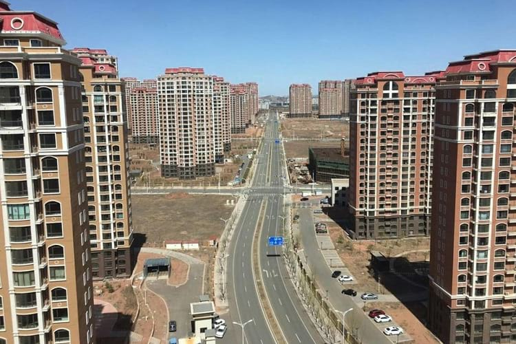 Empty streets and buildings in Kangbashi District.