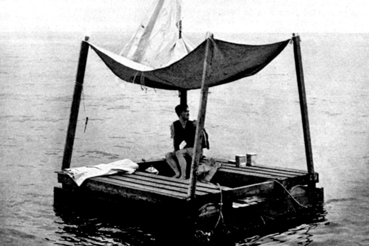 Photo of Poon Lim and his raft.