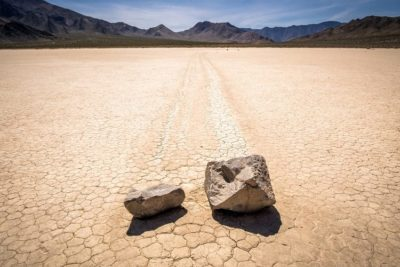 A rock that has left its trail in Racetrack Playa.