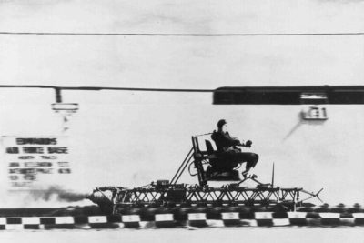 John Stapp being propelled in a rocket powered sled.