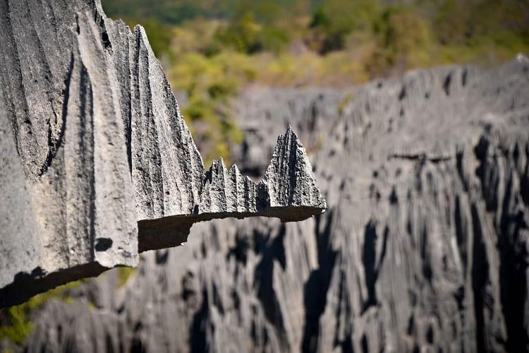 The lethal Tsingy de Bemaraha National Park rock formation.