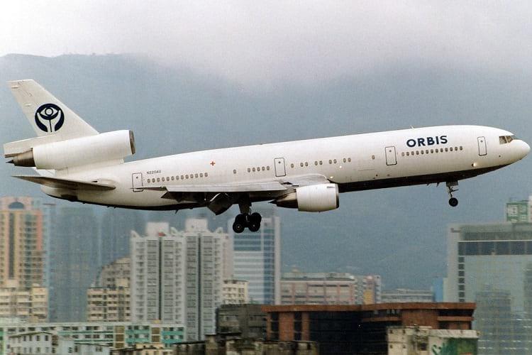 Orbis Flying Eye Hospital departing from Kai Tai Airport.