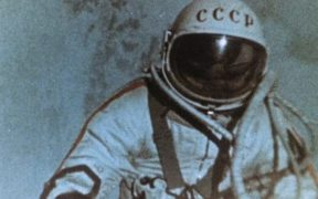 Soviet cosmonaut Alexey Leonov during the space walk, 1965.