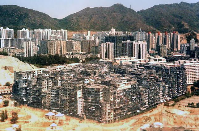 Aerial photo of Kowloon Walled City.