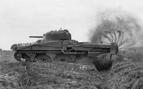 A mine flail mounted on Sherman Crab Mk II.