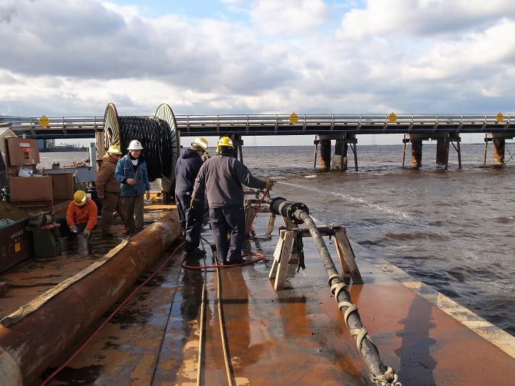 Submarine Communications Cable undergoing repaired.