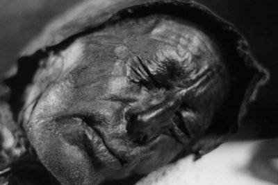 Preserved head of bog body Tollund Man