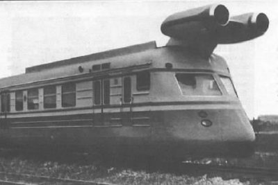 A train fitted with jet engines.