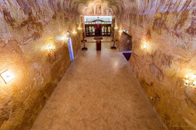 The interior of the underground Serbian church, Coober Pedy.
