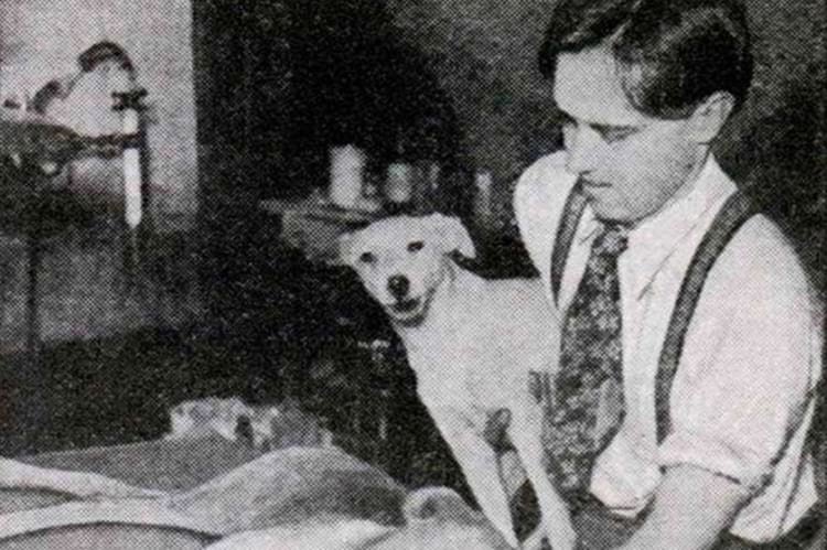 Dr. Robert Cornish with one of the Lazarus pups.