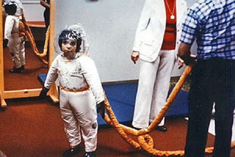 David Vetter wearing a protective space suit.