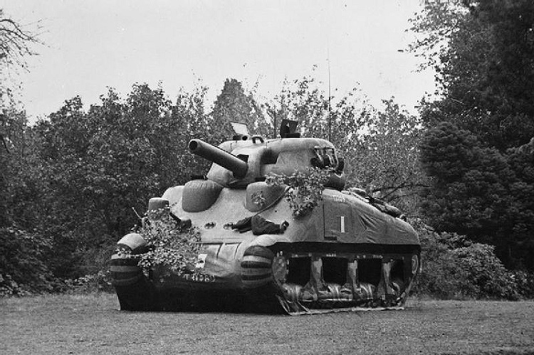 Ghost Army: Inflatable dummy Sherman tank.