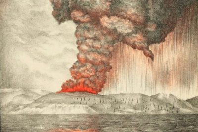 A lithograph of 1883 eruption of Krakatoa.