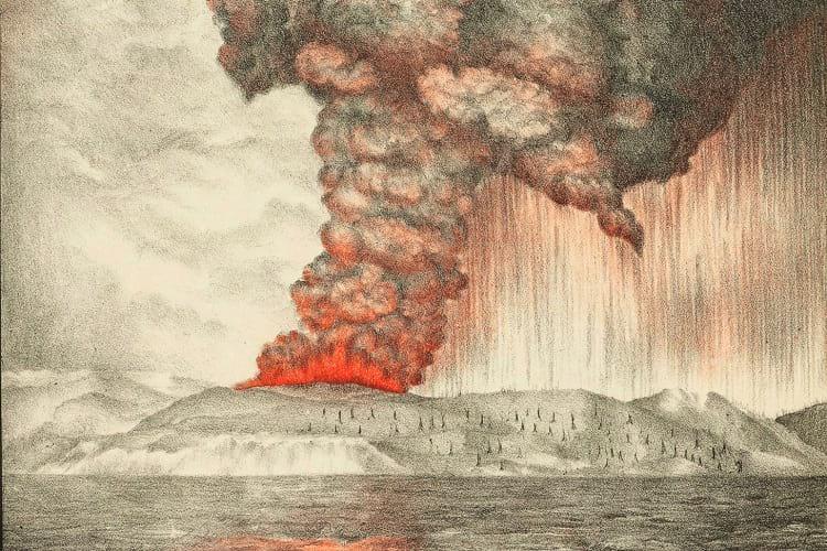 Krakatoa Volcano: A lithograph of 1883 eruption of Krakatoa.