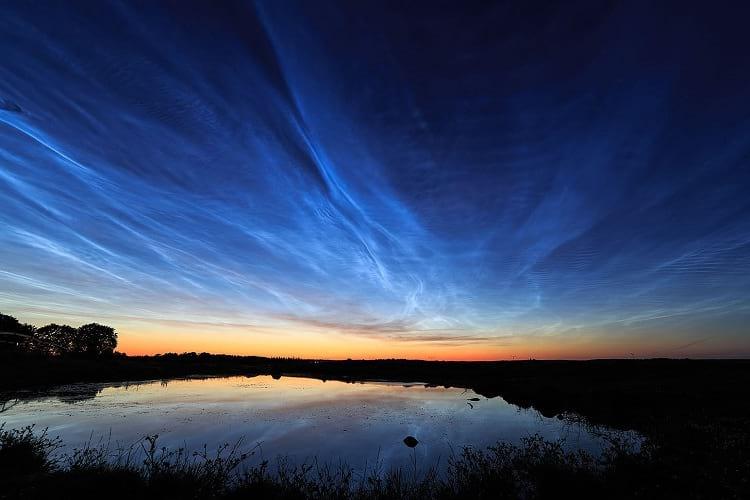 Noctilucent clouds, Sweden.