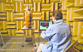 Product testing in an anechoic chamber