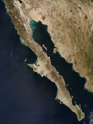 Satellite photo of Baja Peninsula.