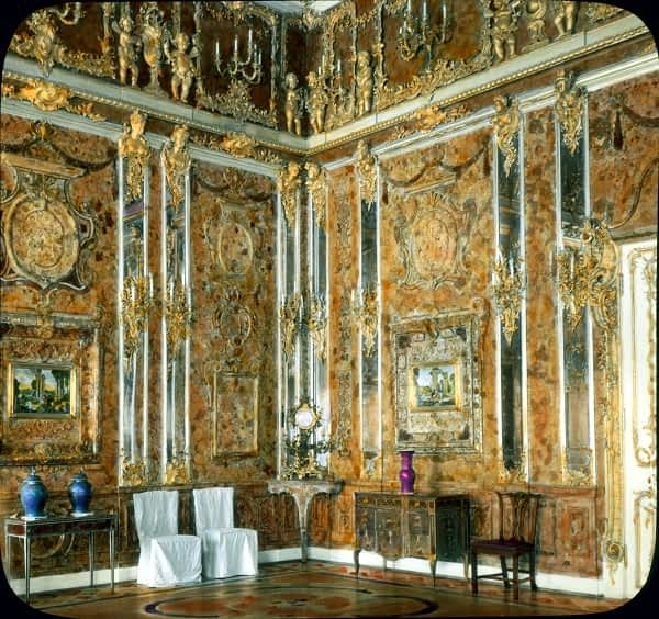 Amber room hand-coloured photograph