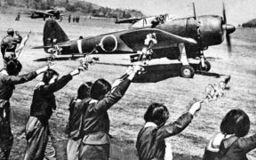 School girls cheering a Kamikaze pilot