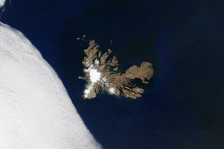 Satellite photo of Kerguelen Islands.