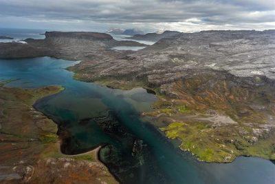 Aerial photo of Kerguelen Archipelago.