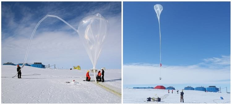 Weather balloons being released near the Halley Research Center.