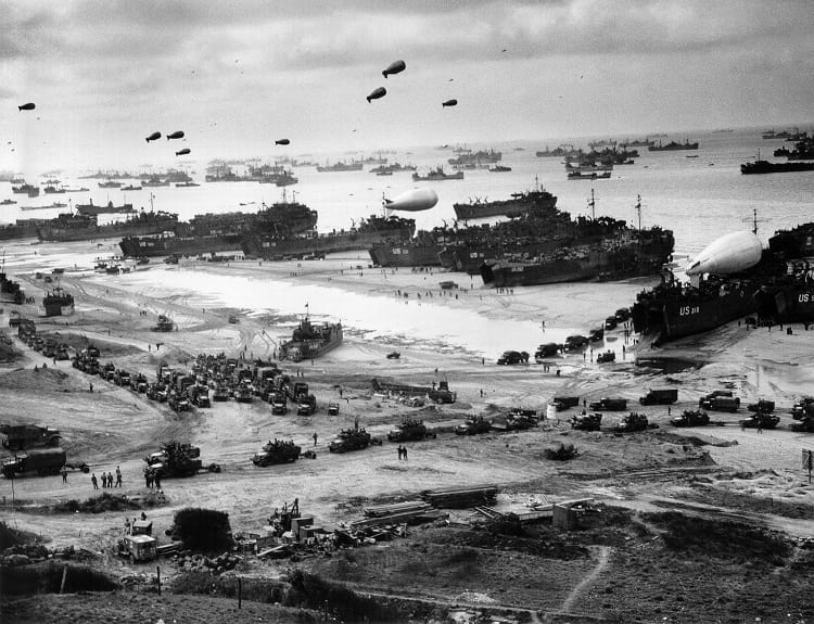 Omaha beach during the invasion of Normandy