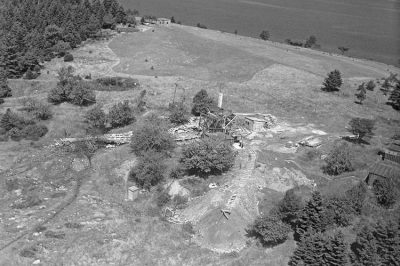 Aerial photo of a excavation site in Oak Island