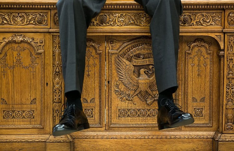 Close up shot of the Resolute desk.