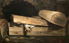 Oil painting of hurried burial.