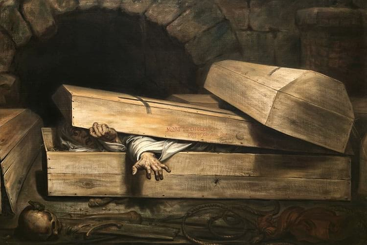 Safety coffin: Oil painting of hurried burial.