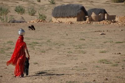 A women carrying water