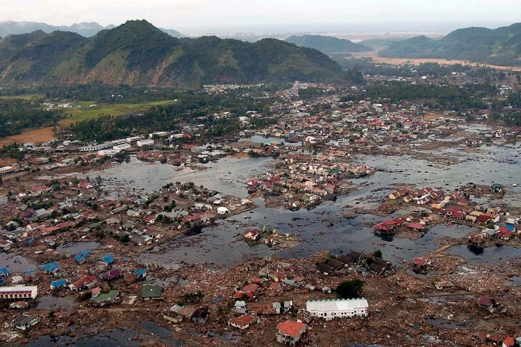 Aerial photo of coastal region of Sumatra after tsunami.