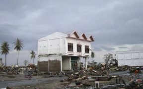 2014 tsunami disaster in Sumatra, Indonesia.