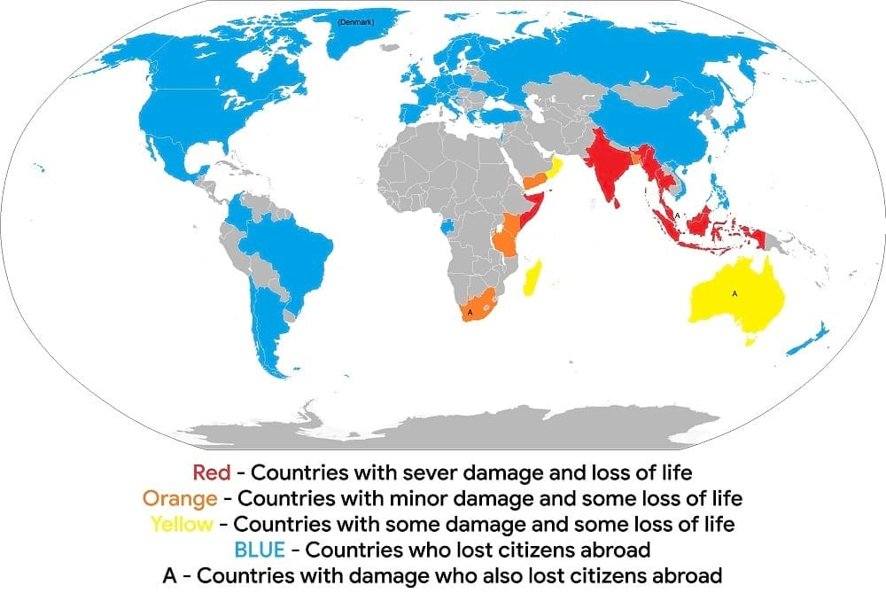 2004 Tsunami affected nations.
