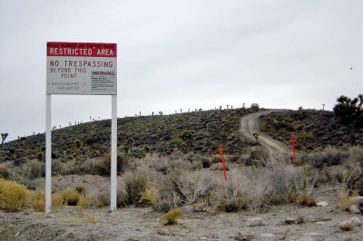 A warning sign near Area 51.
