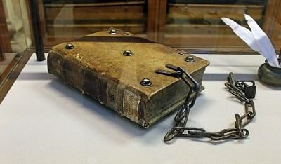 Chained Bible at Hornby Library