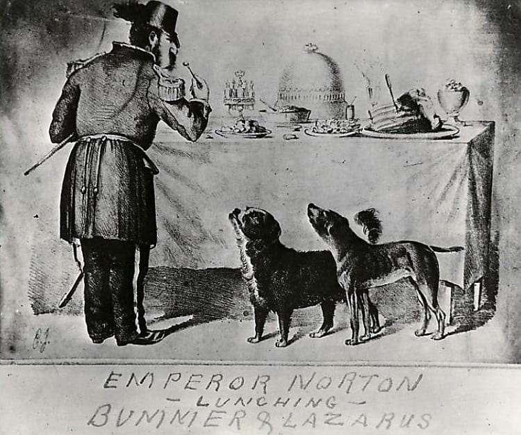 Emperor Norton I with Bummer and Lazarus