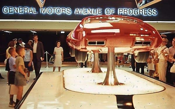GM displaying their futuristic concept car