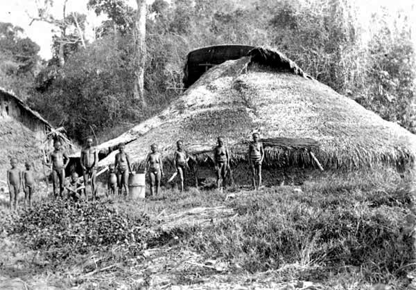 Communal huts made by Andamanese people