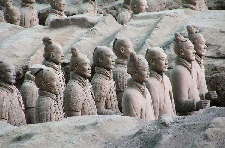 A group of terracotta soldiers