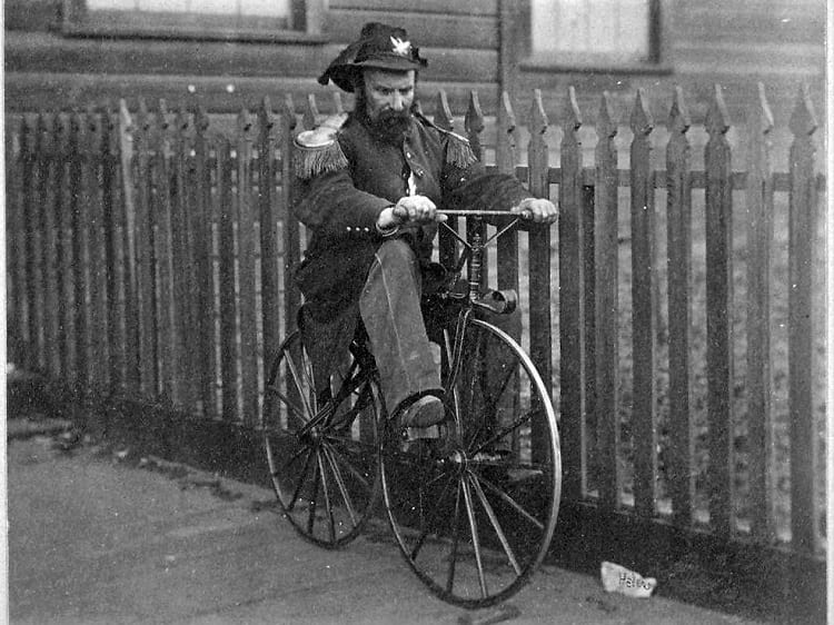 Emperor Norton riding a cycle