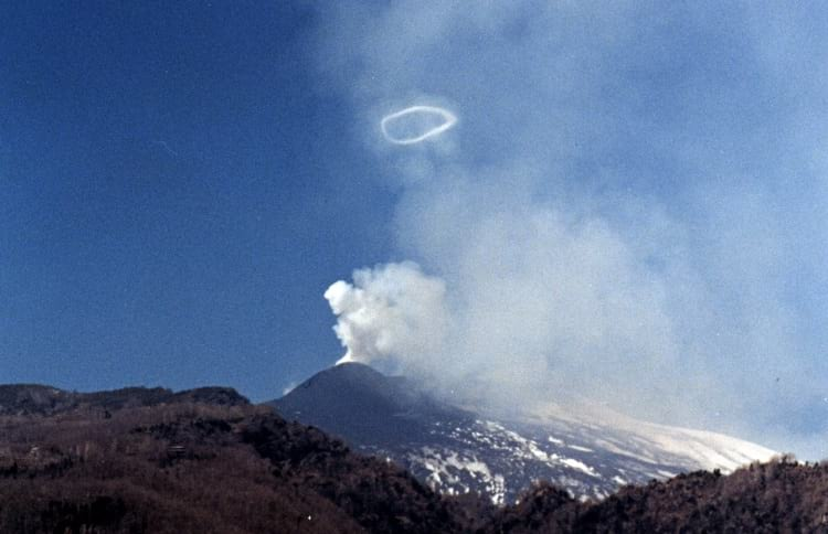 Smoke rings produced by Mount Etna.