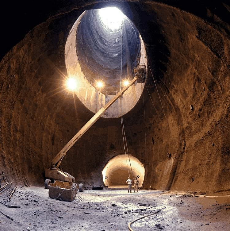 Superconducting Super Collider tunnel under construction.