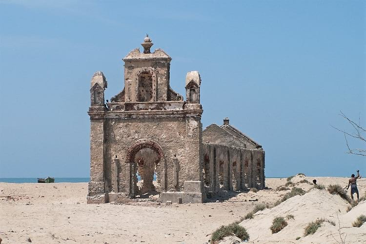 Church ruin at Dhanushkodi.