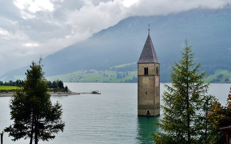 Church Bell Tower at Lake Reschen.