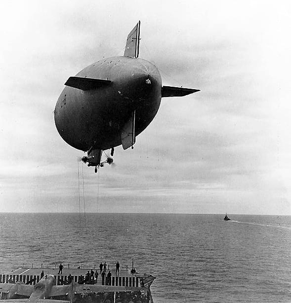 L-8 blimp being used to deliver supplies