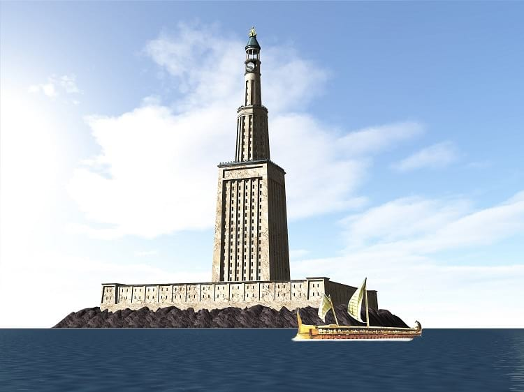 Lighthouse of Alexandria, one of the Seven Wonders of the Ancient World.