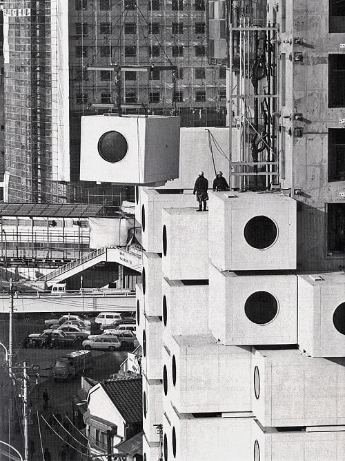 Nakagin Capsule Tower during construction.
